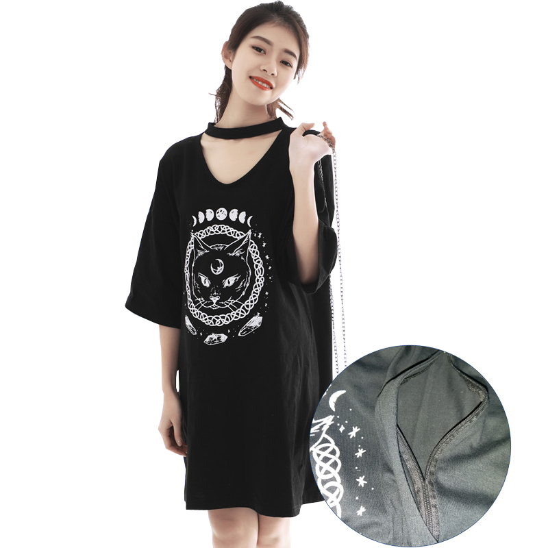 Black Cotton Nursing Dress Maternity Summer Loose Large Long T-shirt Pregnant  Clothes Casual Top Low Price and High Quality