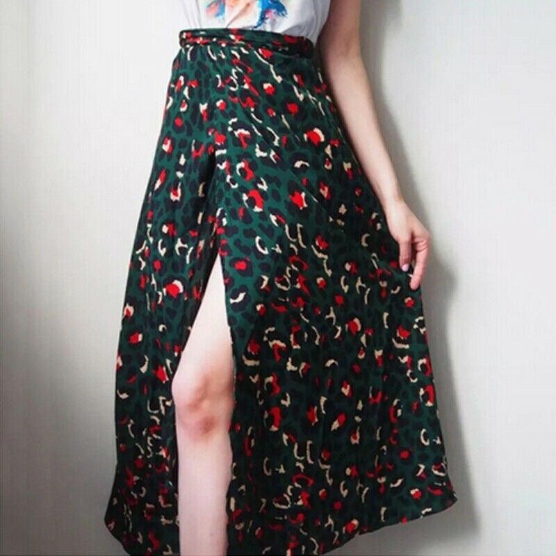 New Fashion Skirt Womens Sexy Leopard Printed High Splited Long Skirt Summer Bohemian Beach Party Club Skirt