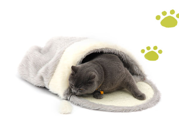 Pawz Road Cat Bed Pet Products Toys Ball Kennel Hairy&Sisal Hemp&Plastic Non-woven Only Cats Gray and White Color Sleeping Bag