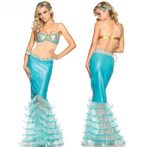 Cuero de imitación sexy traje de cola de sirena Cosplay tentación ...