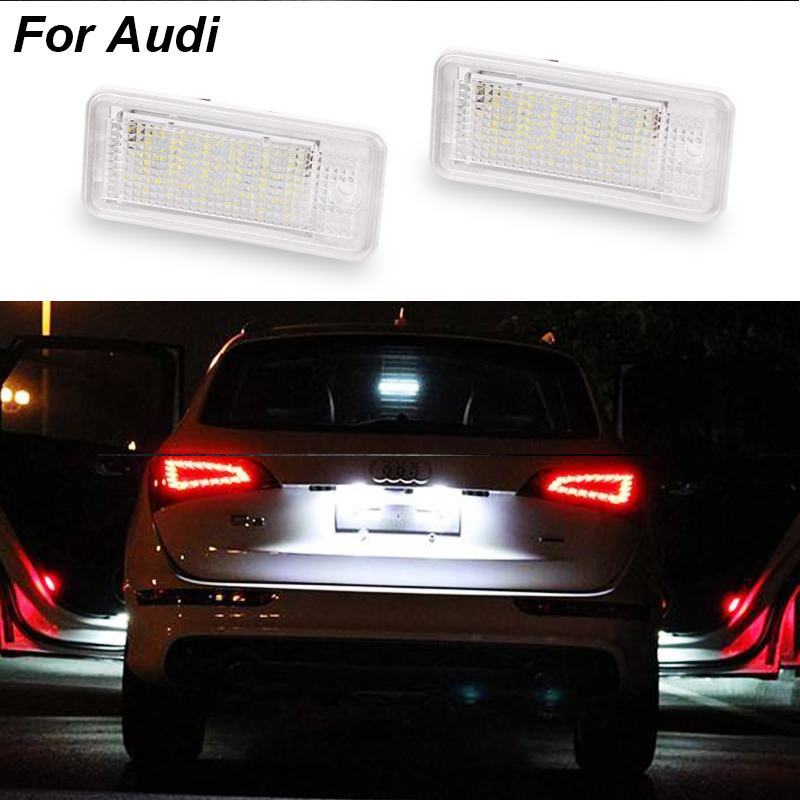 2PCS License Number Plate Light 12V SMD3528 Led License Plate Light Lamp For Audi A4 A3 S3 S4 B6 B7 A6 C6 S6 A8 S8 RS4 RS6 Q7 smaart v 7 new license