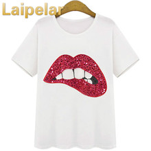 XL Plus Size Clothing 2018 Fashion Red Lip Tshirt New Summer Style Women's T shirt Print Tops Laipelar Summer Tees Top plus knot hem sequin red lip t shirt