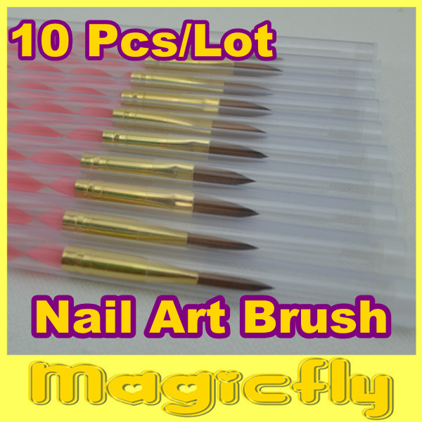 [NRB-011]10XProfessional Nail Art Brush Set for UV Gel Builder Nal Brushes Dropshipping