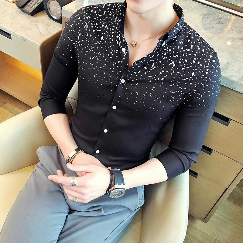 Single Breasted Mens Slim Shirt 3/4 Sleeve Formal Shirts For Men Office Wear Men Blouse Cheap Male Clothing Mens Dress Shirts