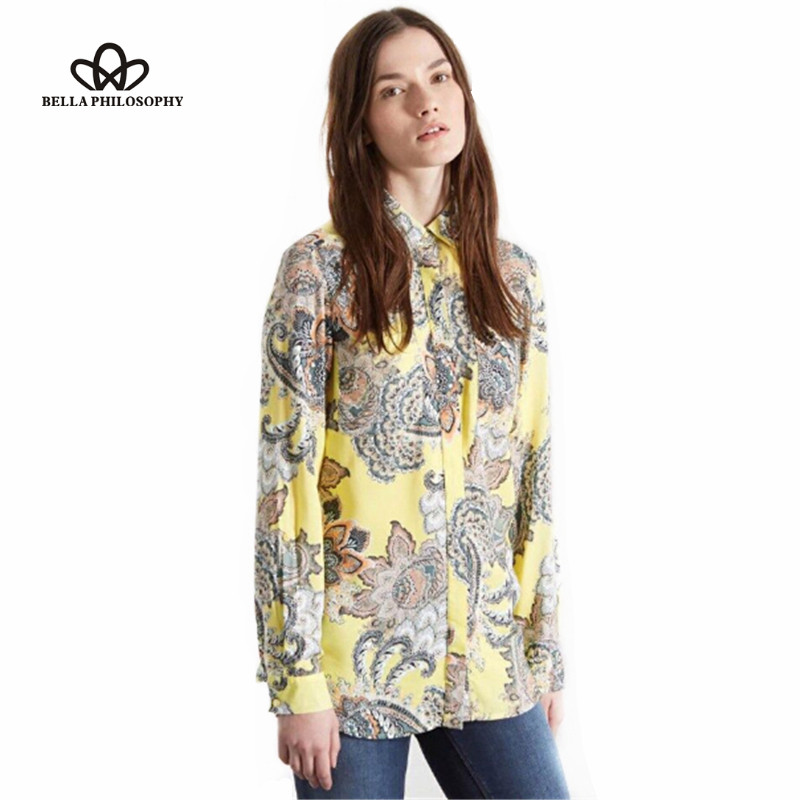 Spring new ethnic long sleeve paisley floral print blouse shirt yellow