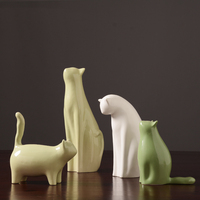 Cute cat ceramic abstract art decorative ornaments sculpture Fashion Cat Crafts Statue Decoration