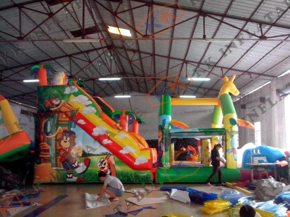 Safari thème géant toboggan gonflable animal personnalisé forêt animale saut cabine