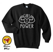 Girl Power Sweatshirt - Womens Unisex Feminist Feminism Muscles Female Sign Girls Tops Power-D458
