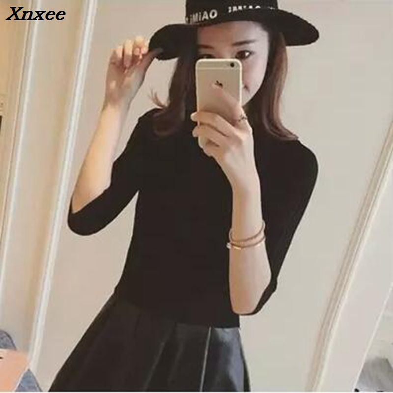 Xnxee The new 2018 half sleeve cotton Crewneck sweater female sleeve head sleeve shirt five solid tight sweater thin repair in Pullovers from Women 39 s Clothing