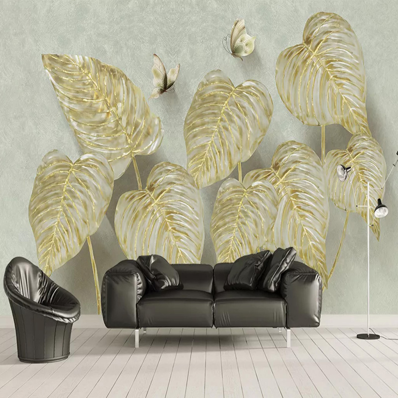 Custom Mural Wallpaper 3D Stereo Golden Leaves Butterfly Photo Wall Painting Living Room TV Sofa Self-Adhesive Waterproof Fresco