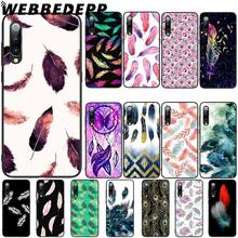 WEBBEDEPP Watercolor Feather Design Soft TPU Case Cover for