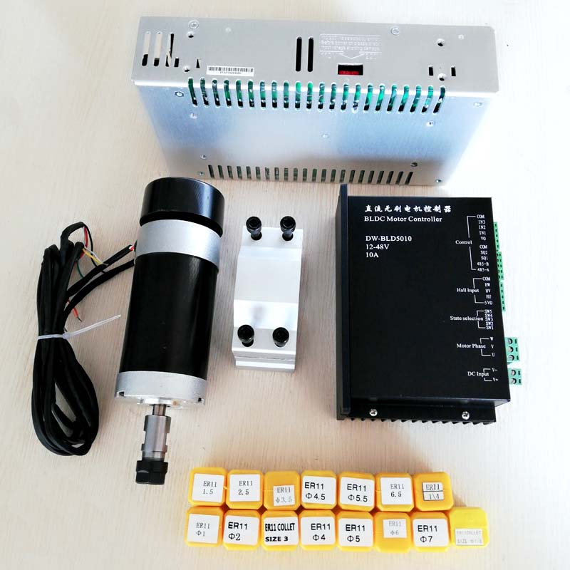 Brushless Spindle 500W CNC Spindle Motor ER11 Milling Machine 55MM Clamp Stepper Motor Driver Switching Power
