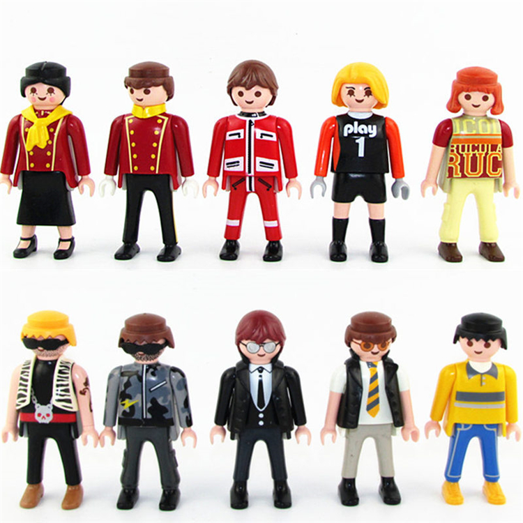 7cm Playmobil Police Castle Figures Knights Noel Farm Girl Boy Soldiers Pirates Mini Building Block Navidad Kids Toys Original