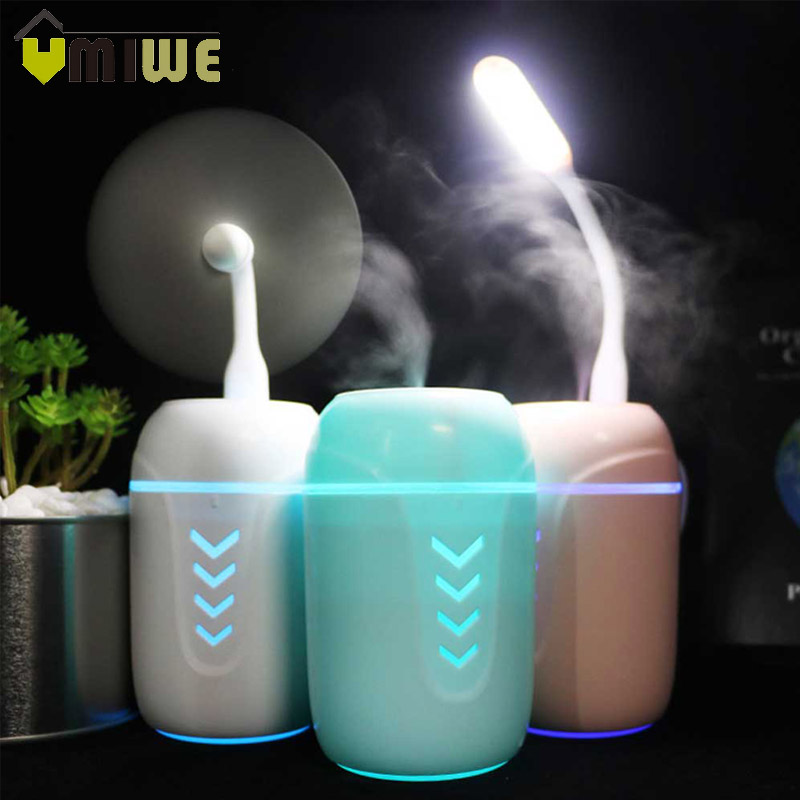3 IN 1 USB Arrow Air Humidifier 200ML Aromatherapy Diffuser Mist Maker Fogger Humidifier With USB Light And Fan For Home Office