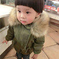 Korean Army Green Thick Fur Collar Warm Hooded Cotton Coat for Boys and Girls 2017 Winter New Fashion Kids New Arrivals
