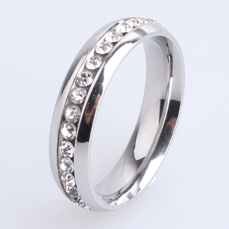 free shipping 5mm Silver single row crystal 316L Stainless Steel finger rings for women men wholesale