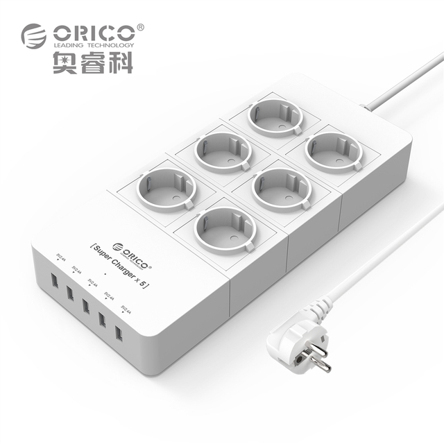 EU Plug Power Strip ORICO 4 6 8 AC Outlet Electrical Surge Protector with 5-Port USB Charger Adapter