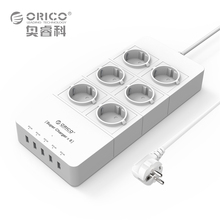 EU Plug Power Strip ORICO 4 6 8 AC Outlet Electrical Surge Protector with 5-Port USB Charger Adapter(China)