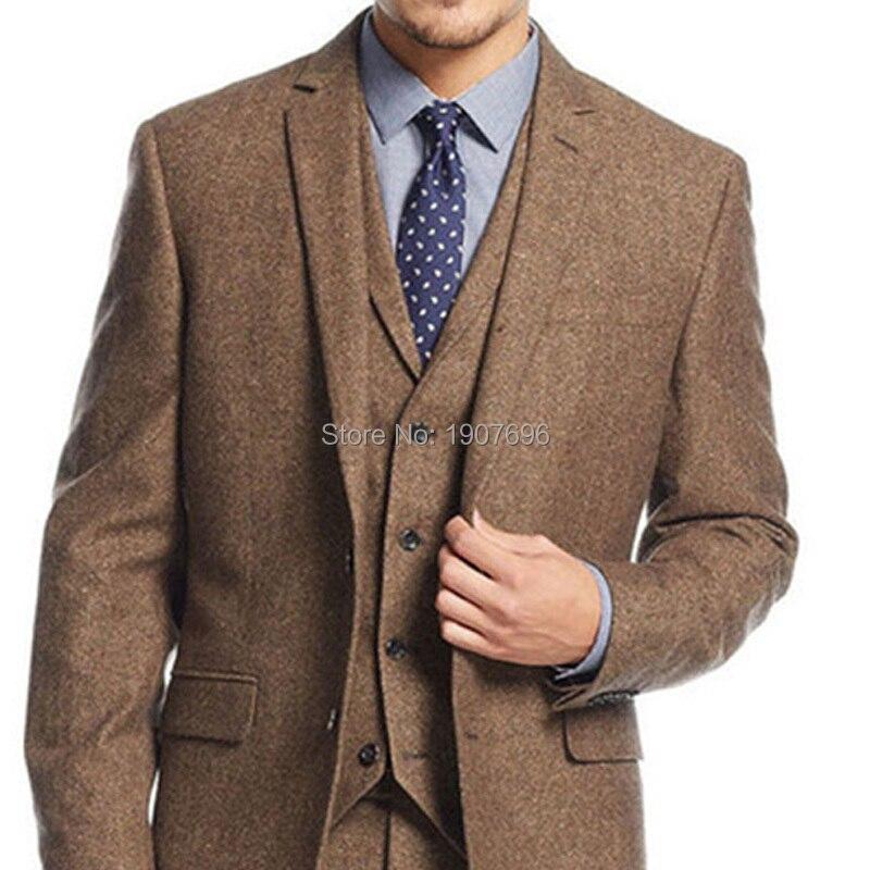 Schneider Winter Braun Tweed Männer Anzug 3 Stück Mens Hochzeit Party Blazer Anzüge Bräutigam Smoking Bräutigam Kostüm Jacke Hose Weste-in Anzüge aus Herrenbekleidung bei  Gruppe 2
