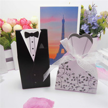 50pc Bride + Groom Elegant Candy Boxes For Guest Wedding Dresses Party Decoration Sweet Bag Favors Gift