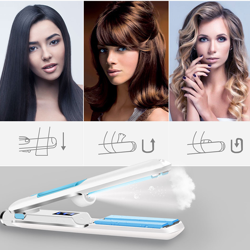 2 In 1 Ceramic Steam Hair Straightener Curler Professional Flat Iron Vapor Seam Straightening Iron Brush Steamer Styling Tools hair curler lcd steam hair straightener ceramic flat iron wet dry straightening iron hair iron steamer styling tool b62