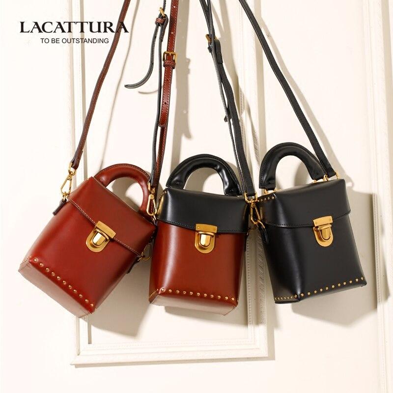 ФОТО A1345 2017 LACATTURA Brands luxury handbags women bags designer leather handbags mini  makeup bag patchwork bolsa feminina