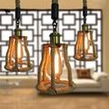 E27personality cuerda de cáñamo araña cafe bar tienda de ropa luces decorativas retro creativa lámpara de araña de restaurante Americano