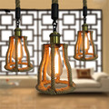 E27personality hemp rope chandelier cafe bar clothing store decorative lights retro chandelier American restaurant creative lamp