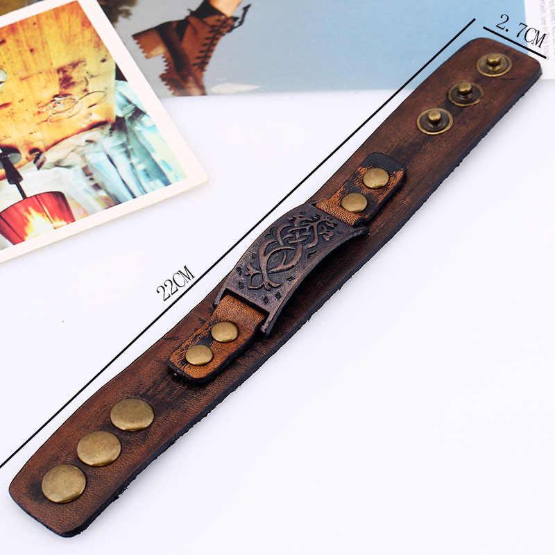 Винтажный кожаный браслет в стиле стимпанк, мужские браслеты из натуральной кожи, браслеты для мужчин в стиле панк, мужские браслеты, аксессуары 2019