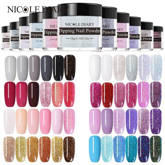 NICOLE DIARY Color Dipping Nail Powder DIY  Black Silver Red Purple Series Dip Nail Powder Nail Art Without Lamp Cure