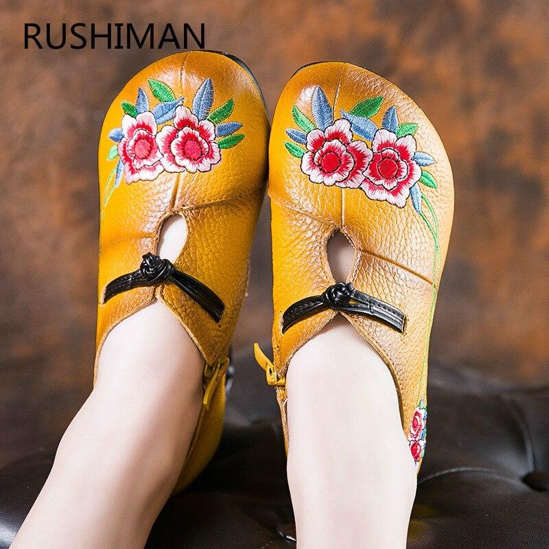 RUSHIMAN 2018 nouveau style national femmes brodé unique chaussures tête ronde avec grossier confortable fermoir chaussures taille 35-40