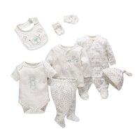 7 шт./компл. для малышей Одежда для новорожденных девочек и мальчиков мягкий хлопковый комплект детской одежды с рисунком, удобная одежда дл...