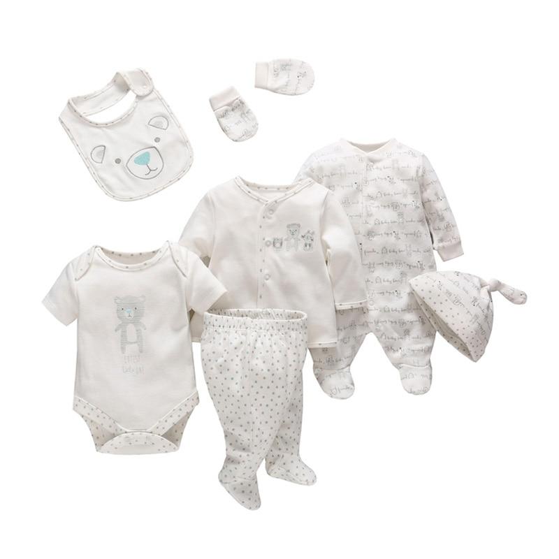 7 шт./компл./комплект, мягкая хлопковая одежда для новорожденных мальчиков и девочек с мультяшным принтом