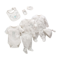 New Born Baby Girl Clothes Seven Pieces Baby Children S Clothing Set Comfortable Cotton Cartoon Infant