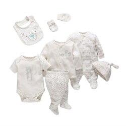 7 unids/set tiernos bebés recién nacidos bebé niña niño ropa suave dibujos animados algodón bebé niños ropa conjunto cómodo ropa infantil