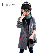 Hurave Novelty autumn winter 2017 baby girls jacket coats thick knitted cute kids jacket children outerwear Jacket knitwear