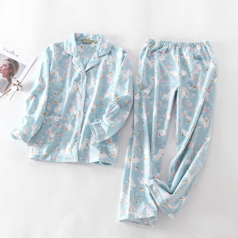 2018 новые пижамы женские Kawaii Мультяшные пижамы 100% матовый хлопок  женский милый Ночной костюм с 1ad2a34ff6a79