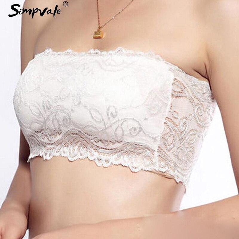 Simpvale предотвращения гардероб неисправности сексуальный Кружево Вышивка узоры Для женщин трубки топы белого цвета черный, розовый
