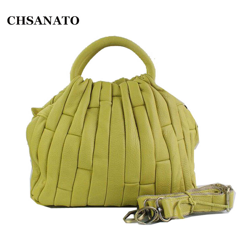 CHSANATO Brand 100 Genuine Leather Tote Bags For Women Real leather Fashion Silver Gold Patchwork Designer