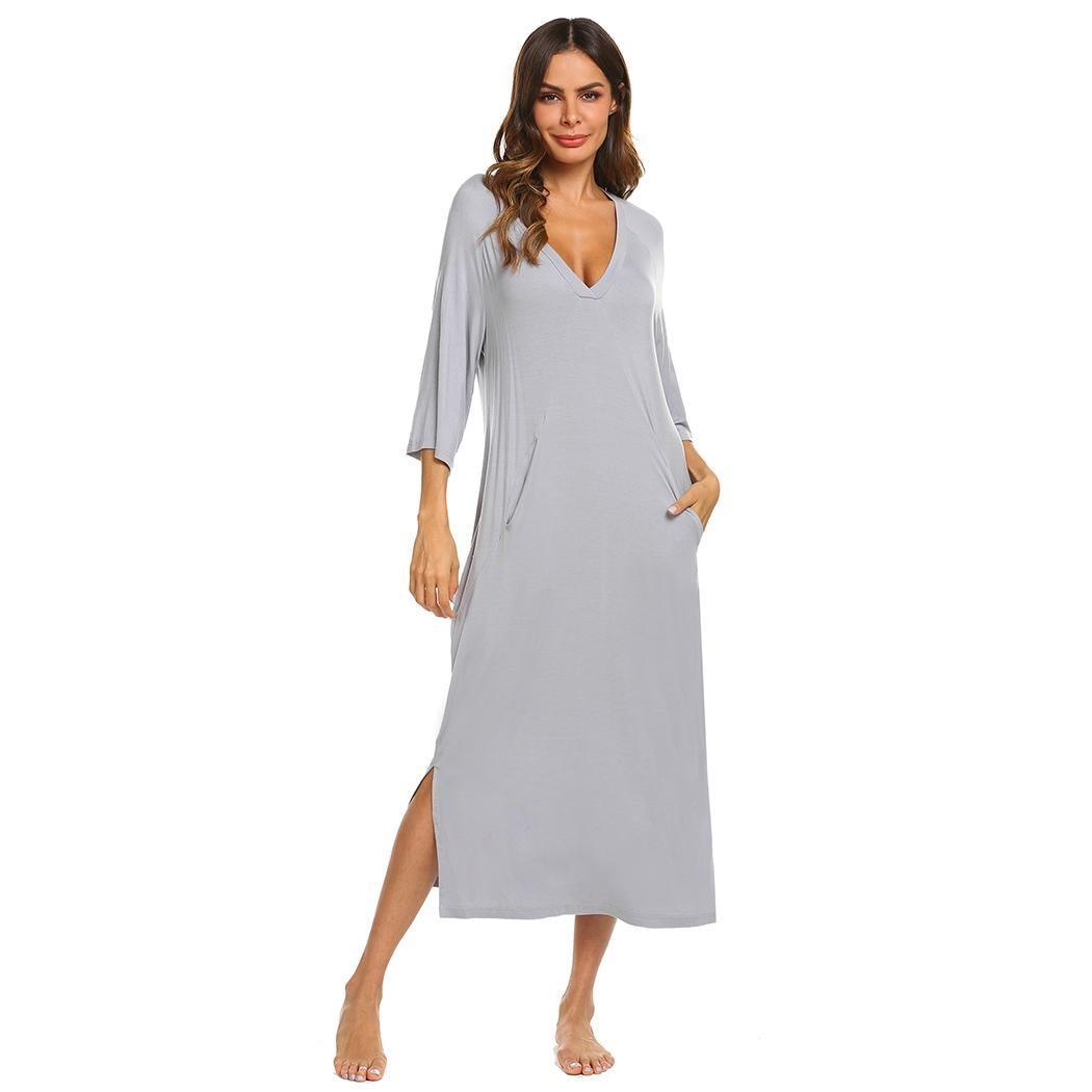 Ekouaer Women   Nightgown   Sleepwear Dress V-Neck 3/4 Sleeve Solid Loose Lady Pocket Long Sleep Dress Nightwear   Sleepshirts