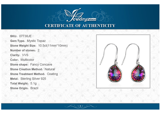 JewelryPalace 8.6ct Genuine Rainbow Fire Mystic Topaz Dangle Earrings 925 Solid Sterling Silver Luxury Gift For Women Jewelry