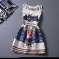 Nueva marca del verano del resorte más tamaño chaleco dress princess dress mujeres de la impresión floral sin mangas una línea de vestidos de partido de la manera vestidos