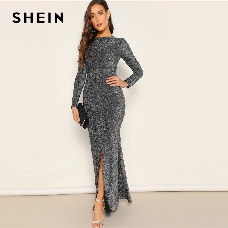 SHEIN Silver Solid Sexy Open Back Split Mermaid Hem Skinny Maxi Dress Women Spring Elegant Sheath Stretchy Party Dresses