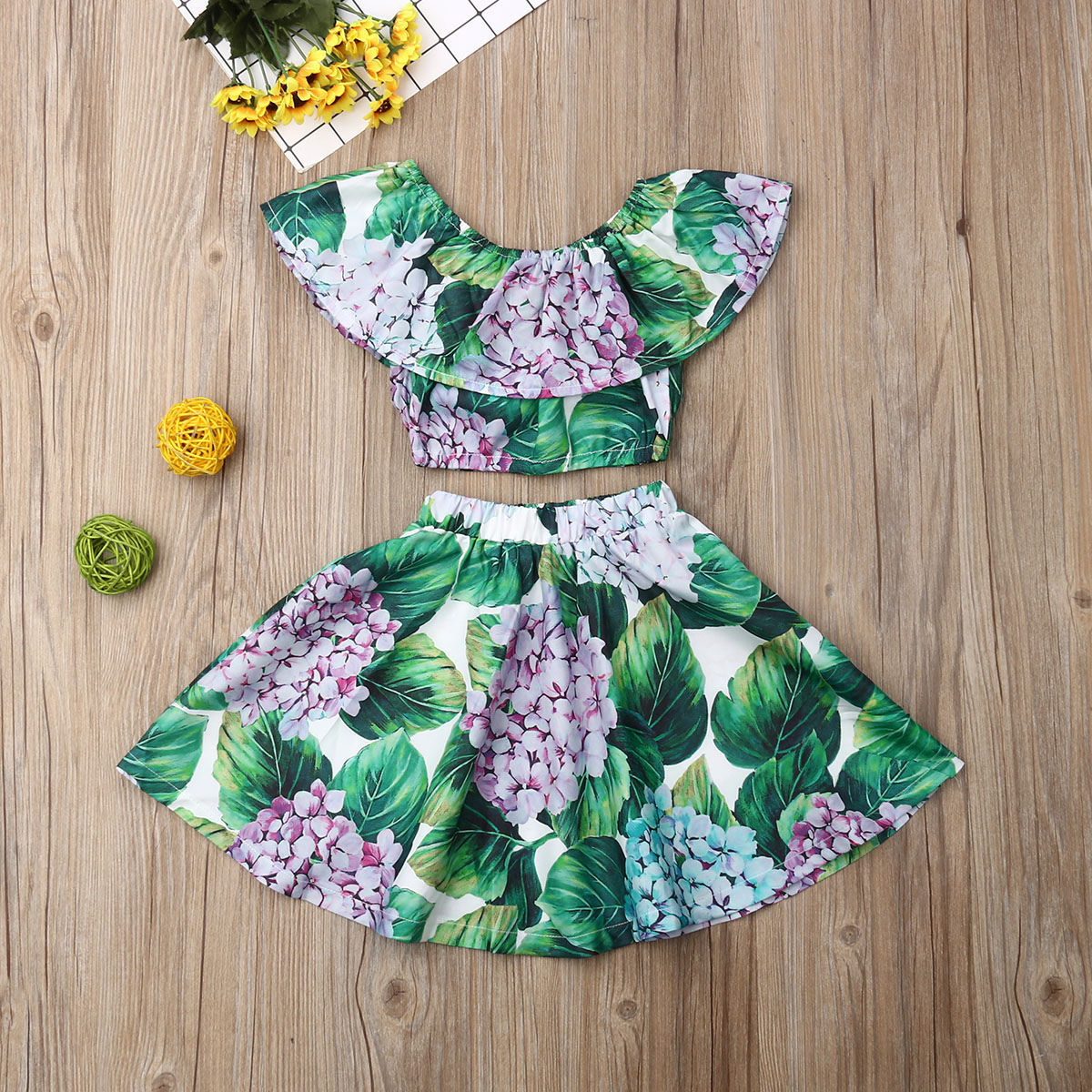 Pudcoco Summer Toddler Baby Girl Clothes Off Shoulder Flower Print Ruffle Tops Skirt Sunsuit 2Pcs Outfits Summer Clothes
