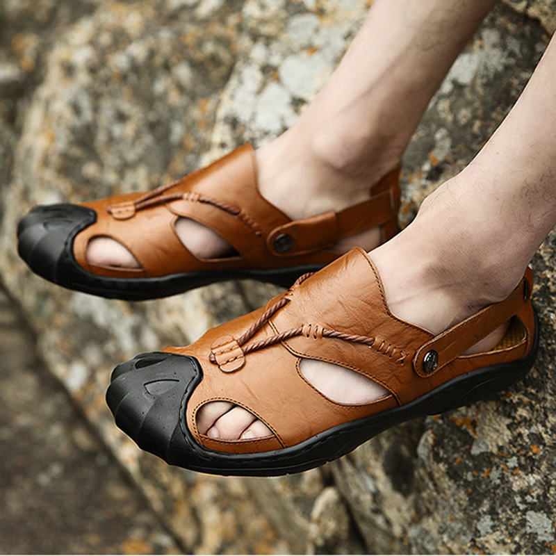 Mens Sandals Genuine Leather Summer 2018 New Beach Men Casual Shoes - Men's Shoes - Photo 6