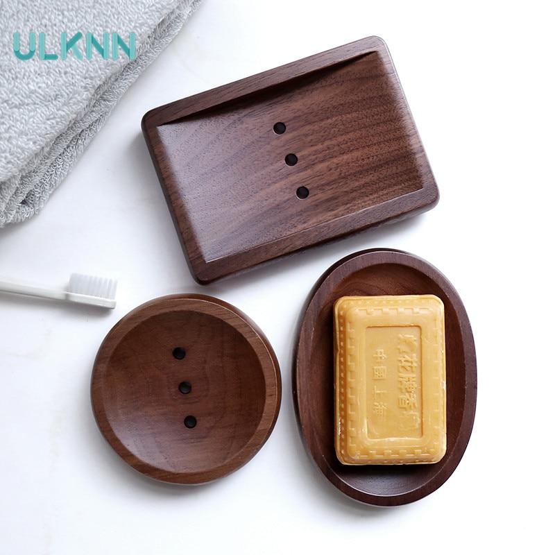 Japan Style Creative Black Walnut Soap Box Bathroom Handmade Soap Rack Draining Rack Use For Home/Hotel Square Round Oval