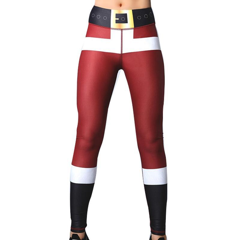 2018 Leggings de Impressão de Natal Colocar Hip Elástico de Cintura Alta Calças Legging Não Transparente Respirável Feliz Natal