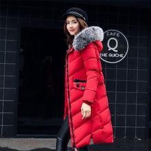 2017 Мода зимняя куртка пальто женщин Долго сгущать вниз хлопка мягкий искусственный большой меховой воротник теплый женский дамская пиджаки