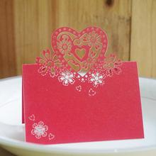 50 Pcs/lot Romantic Heart-shaped Laser Engraving Wedding Table Setting Table Card Creative Guest Name Table Card 120pcs lot laser cut humming bird shaped table name place card escort card wine glass card wedding baby shower decoration wd108