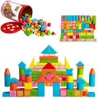 プレミアムインテリジェンスおもちゃ100ピース/セットブナ木材モデルビルディングブロックおもちゃ子供のための教育レンガで手紙アルファベッ